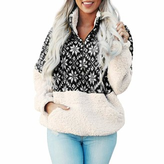 Toamen Women's Tops Toamen Womens Sweatshirt Hoodie Long Sleeve Snowflake Print Patchwork Warm Faux Fur Zipper Fleece Hooded Outerwear Pullover Sweatshirt Tops(Black 12)