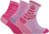 Universal Textiles Childrens/Girls Assorted Keep Calm Print Socks (Pack Of 3)