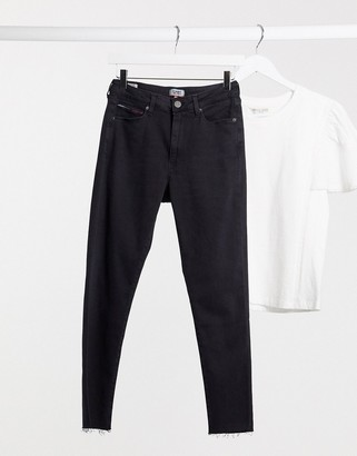 Tommy Jeans Sylvia high rise skinny jeans in worn black