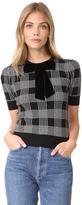 Alice + Olivia Brady Plaid Short Sleeve Sweater