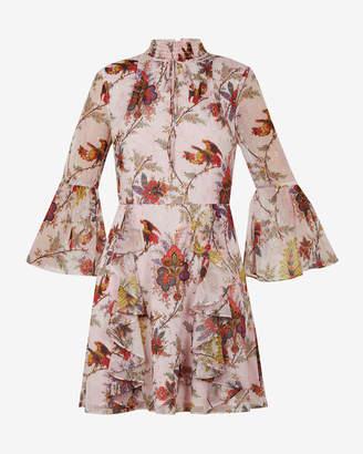Ted Baker ORCHA Arabesque high neck ruffle dress
