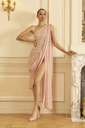 GEORGES HOBEIKA Draped One Shoulder Beaded Tulle Slit Gown