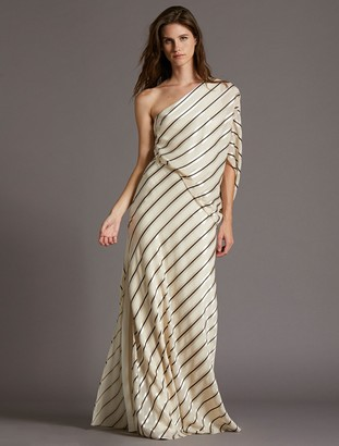 Halston Asymmetric Stripe Gown