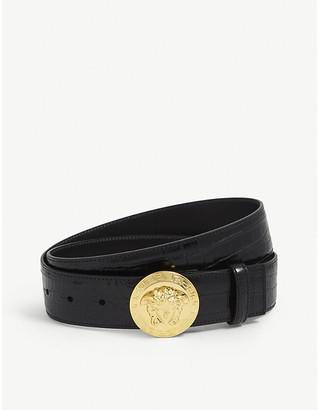 Versace Medusa coin crocodile-embossed leather belt
