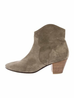 Etoile Isabel Marant Dicker Suede Ankle Boots Olive