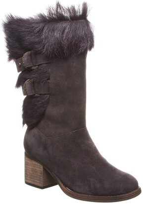 BearPaw Madeline Genuine Goat Fur & Suede Tall Boot