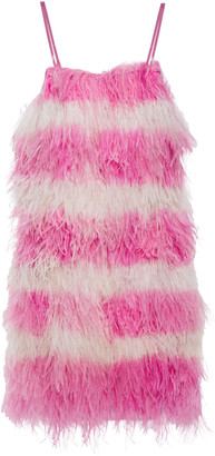 MSGM Feather-embellished Georgette Mini Dress