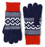 Lands' End Girls Fair Isle Knit Gloves-Deep Sea Multi Stripe