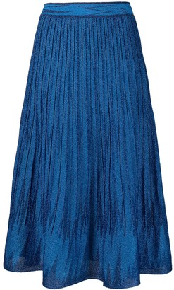 M Missoni Pleated Knit Midi Skirt