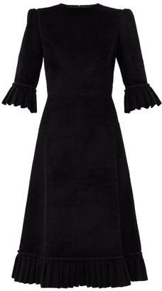 The Vampire's Wife The Festival Jumbo-cord Cotton Midi Dress - Black