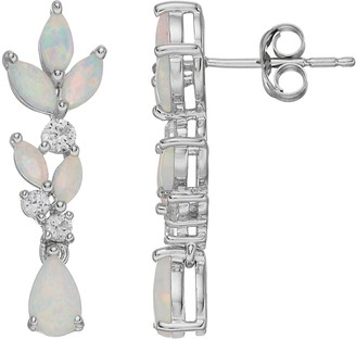 Sterling Silver Lab-Created Opal & Lab-Created White Sapphire Linear Drop Earrings
