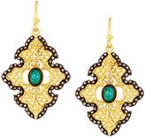 Armenta Old World Malachite Doublet Cross Drop Earrings w/ Sapphires & Diamonds