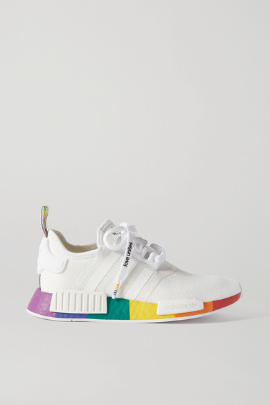 adidas Nmd r1 Pride Rubber-trimmed Primeknit Sneakers - White