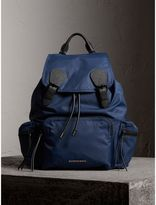 Burberry The Large Rucksack In Technical Nylon And Leather, Blue
