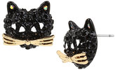 Betsey Johnson Skeletons After Dark Cat Stud Earrings
