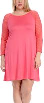 Celeste Coral Sheer-Sleeve Swing Dress - Plus
