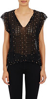 Ulla Johnson Women's Magdalena Embroidered Georgette Top-BLACK