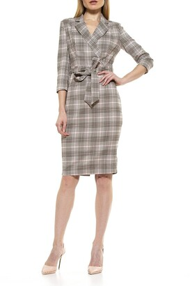 Alexia Admor Jacqueline 3/4 Sleeve Belted Plaid Dress