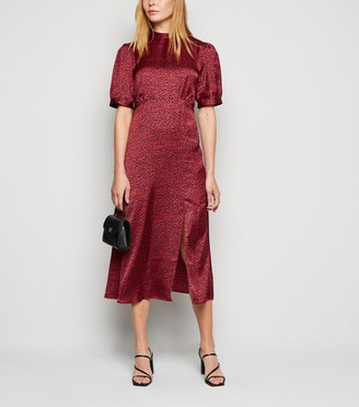 New Look Leopard Print Satin Midi Dress