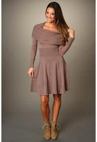 BCBGMAXAZRIA Sheila Cowl Neck Sweater Dress (Brown Ash) - Apparel