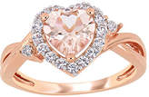Fine Jewelry Womens Diamond Accent Genuine Pink Morganite 18K Rose Gold Over Silver Heart Cocktail Ring, 5 , No Color Family