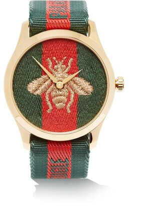 Gucci G-timeless Web Stripe & Gold Pvd Watch - Gold