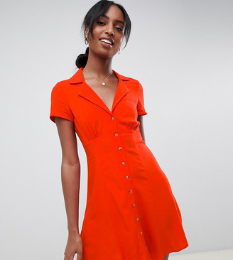 Asos Tall DESIGN Tall button through mini skater dress-Red