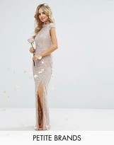 TFNC Petite Wedding High Neck Lace Dress With Cap Sleeve