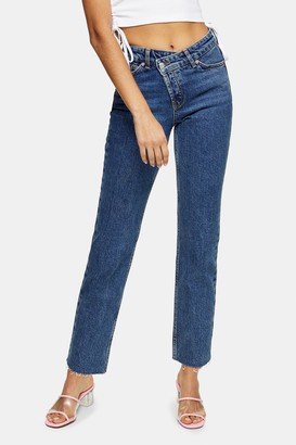 Topshop Womens Mid Blue Wrap Over Straight Jeans - Mid Stone
