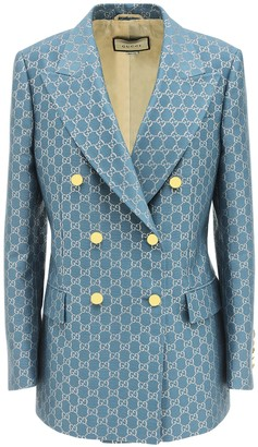 Gucci Gg Double Breasted Wool Lame Jacket