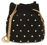 Street Level Studded Suede Chain Crossbody Bag - Black