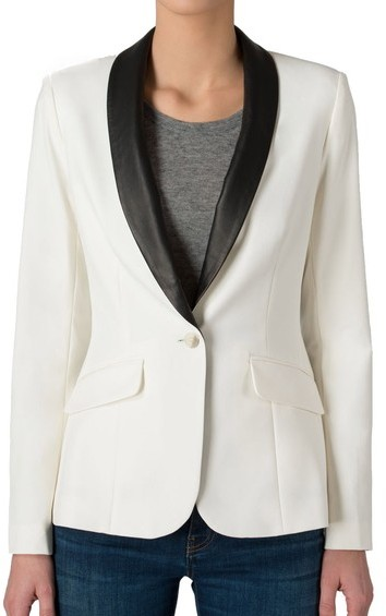 Elizabeth and James Rex Leather Collar Tux Blazer