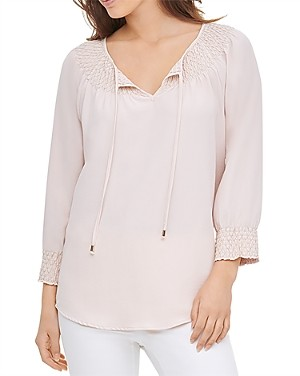 Calvin Klein Smocked Tie-Neck Top