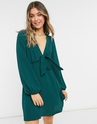 ASOS DESIGN tie front mini tea dress with long sleeves in forest green