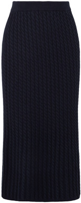 Alessandra Rich Cable-knit Cotton-blend Midi Skirt