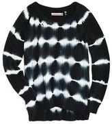 Vintage Havana Girls' Distressed Ribbed Tie Dye Sweater - Sizes S-XL