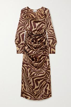 Ganni Ruched Zebra-print Stretch-silk Satin Midi Dress - Zebra print