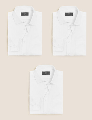 Marks and Spencer 3 Pack Cotton Blend Skinny Fit Shirts