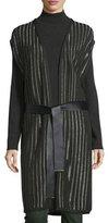 Escada Belted Striped Knit Vest, Fir