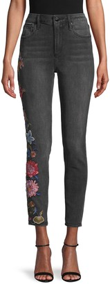 Driftwood Floral Embroidery High-Rise Skinny Jeans