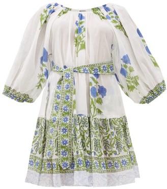 Juliet Dunn Waist-tie Floral-print Cotton Dress - Green White