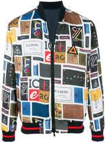 Iceberg contrast logo panel bomber jacket
