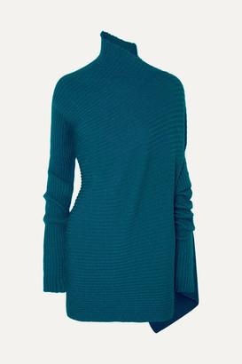 Marques Almeida Asymmetric Ribbed Metallic Merino Wool Turtleneck Sweater - Turquoise