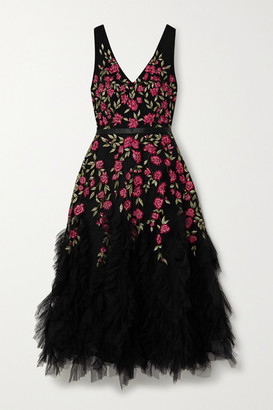 Marchesa Ruffled Embellished Embroidered Tulle Midi Dress - Black