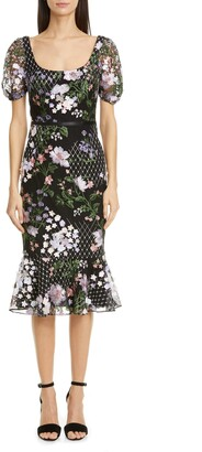 Marchesa Floral Applique Tulle Cocktail Dress