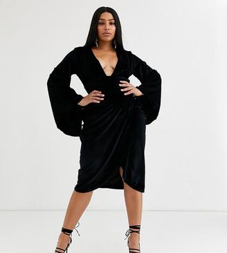 Asos DESIGN Curve velvet kimono sleeve midi pencil dress
