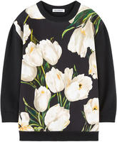 Dolce & Gabbana Tulipe-printed bi-material sweater