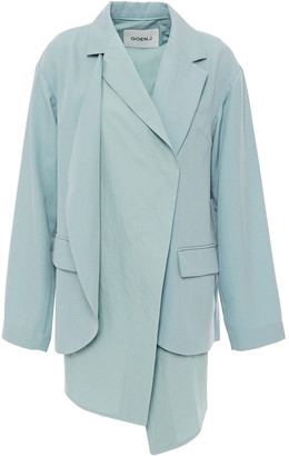 GOEN.J Asymmetric Paneled Cotton-poplin And Stretch-crepe Blazer