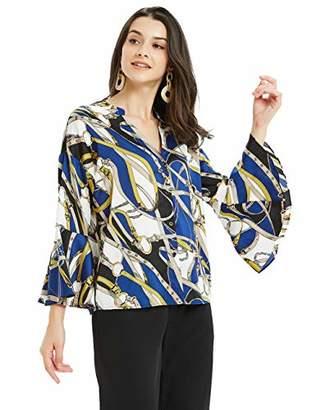 Basic Model Baroque Blouses for Women Chain Print Bell Sleeve Lady Shirts Vintage V Neck Blouses