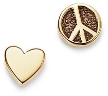 Chicco Zoe 14K Yellow Gold Itty Bitty Peace Sign & Heart Mixed Stud Earrings